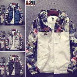 US Men's Camo Windbreaker Thin Hooded Jacket Sport Casual Lo