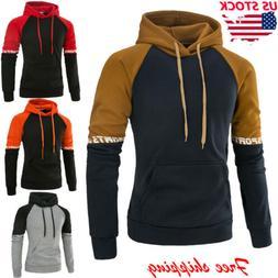 US Men's Fashion Fall Hoodie Warm Hooded Sweatshirt Sweater