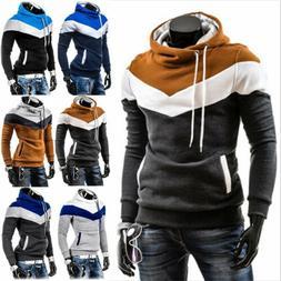US Men's Winter Slim Hoodie Warm Hooded Sweatshirt Coat Jack