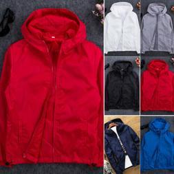 US Men Waterproof Windbreaker Jacket hoodie Light Sports Out