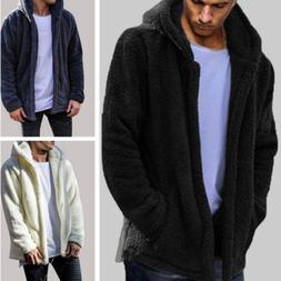 US Mens Long Sleeve Hooded Hoodie Sweatshirt Winter Warm Fle