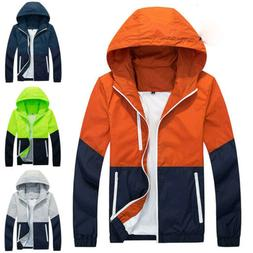 us mens waterproof windbreaker zipper jacket hoodie