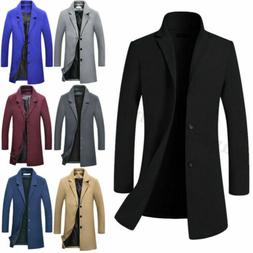US Mens Wool Blends Coat Winter Warm Trench Coat Outerwear O