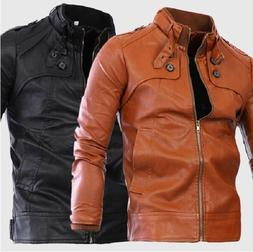 US Seller Mens Motorcycle Faux-Leather Buckle Collar Jacket