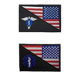 SpaceCar Bundle 2 Pieces USA American Flag w/Star of Life &