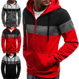 USA Men's Winter Slim Hoodie Warm Hooded Sweatshirt Coat Jac