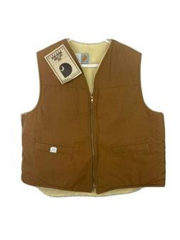 Vintage Carhartt Vest Jacket Mens XL Brown Duck Sherpa Pile