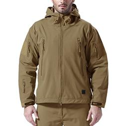 FREE SOLDIER Men's Outdoor Waterproof Soft Shell Hooded Mili