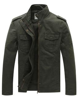 WenVen Men Military Casual Jacket Washed Cotton Army Style O