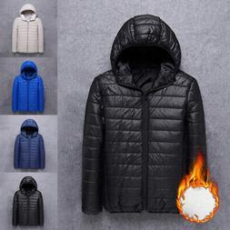 Winter Men Puffer Bubble Down Hoodie Jacket Outwear Warm Zip