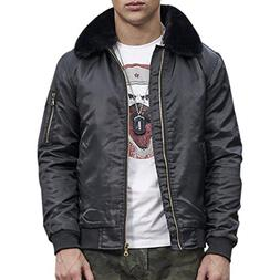 Men's Winter Thicken Jacket Warm Fur Lined Coat Casual Outwe