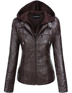 Tanming Women's Womens Hooded Faux Leather Jackets X-Large,