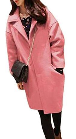 Ting room Women Solid Color Woollen Blend Plus Size Winter S