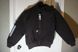 Carhartt Work Jacket Mens Quilt Flannel Lined Hooded Brown J