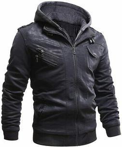 WULFUL Men's Vintage Motorcycle Faux Leather Jacket Outwear