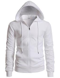 H2H Men's Zip Hoodie Fleece Full Zip Cotton Plain Hoodie Jac